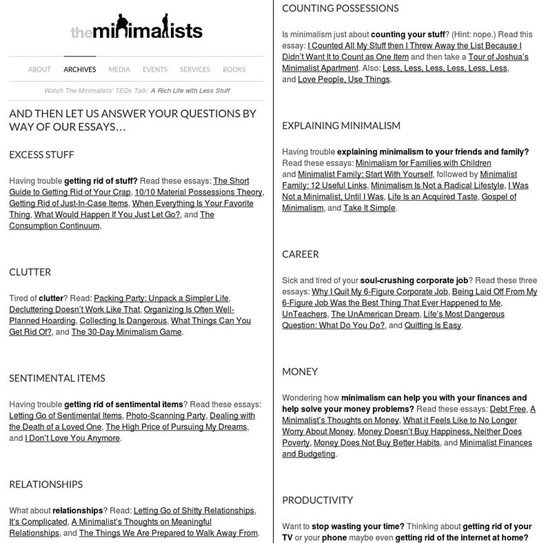The Minimalists Start Here Page | crystalpulse.co.uk