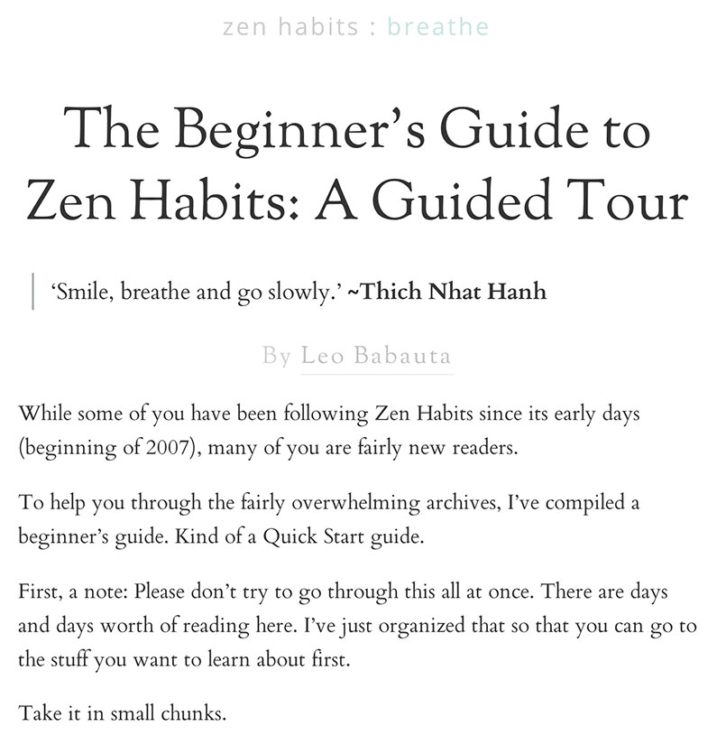 zenhabits Start Here | crystalpulse.co.uk